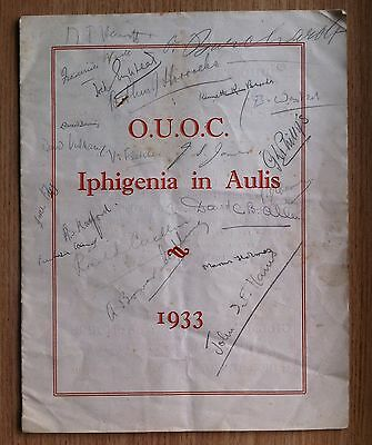 Opera / Theatre programme IPHIGENIA in AULIS - 1933 - many signatures