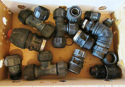 "LOT OF mostly PHILMAC POLY PIPE CONNECTORS / FITTINGS - 1 1/4"" / 1 1/2""SIZES ETC"