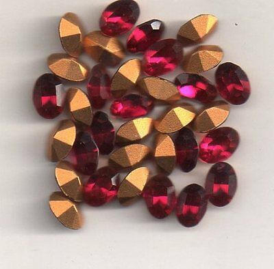 Strass Ovale 7/5 - 4100   Ovale 7/5 - 10 Rubis  - Goldfoiled