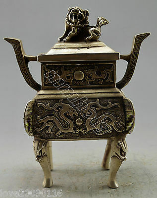 Collectible Old Handwork Silver Plate Copper Carved Dragon Kylin Pot With a lid