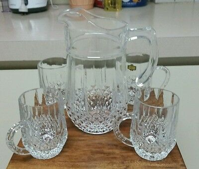 Lead Crystal jug and 4 crystal mugs / cups beautiful condition
