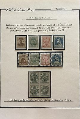 Poland Polish Local Posts 1916 New Mlh*/** For Description Look At The Picture