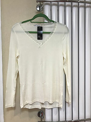 CREAM M&S Marks Autograph long sleeve thermal vest with silk size 16 BNWT