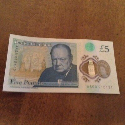 New £5 Polymer Note AA03