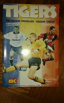 Hull City Pre Season Friendly Programme season 1996-1997
