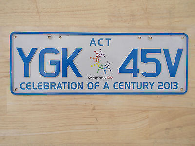 License plate Number plate ACT CELEBRATION OF A CENTURY