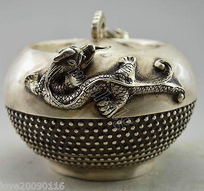 Collectible Decorate Old Handwork Silver Plate Copper Pair Lizard Incense Burner