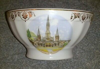 LOURDES LA BASILIQUE Fine APILCO French Porcelaine LARGE Sugar Bowl