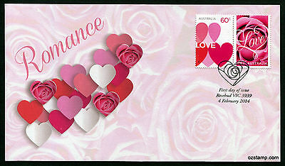 2014 Romance FDC First Day Cover Stamps Australia