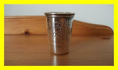 Egyptian Silver Engraved Shot Cup,hallmarked With Lotus Flower