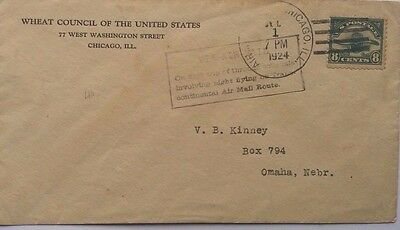 United States 1924 Airmail Cover First Trip Night Flight Transcontinental Cachet