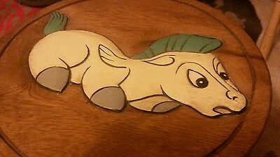 Wooden carved painted children's character  horse stool new