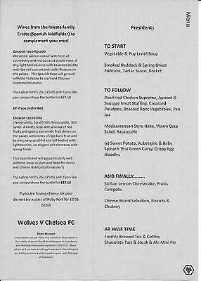 Team sheet and Menu Wolverhampton Wanderers v Chelsea FA Cup 2016/17