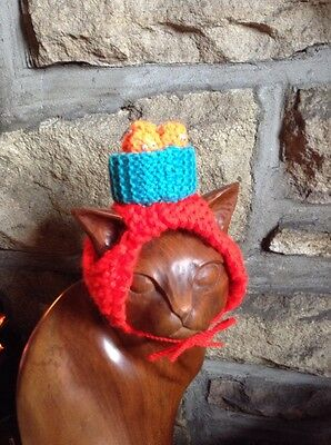 Hand Knitted Baked Bean Hat For Your Cat/small Dog, New