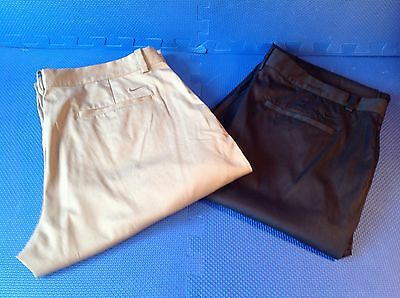 2Pairs Of Nike Golf Trousers W38 L32 Black And Beige Excellent Condition