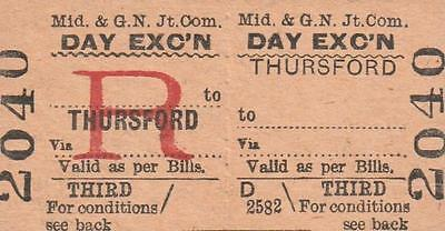 Midland & Great Northern JOINT Railway Ticket THURSFORD 2040