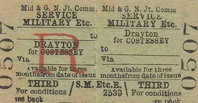 Midland & Great Northern JOINT Railway Ticket DRAYTON FOR COSTESSEY 0507