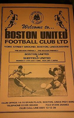 Boston United v Sheffield United Friendly season 1995-1996