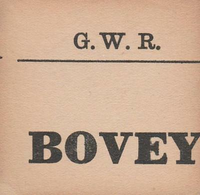 Great Western Railway Luggage Label BOVEY