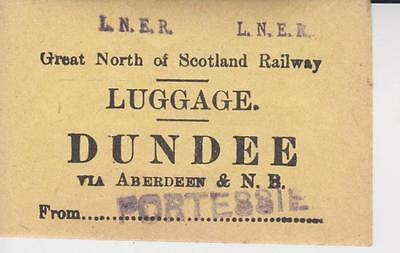 Great North of Scotland Railway Luggage Label DUNDEE VIA ABD (STAMPED PORTESSIE)