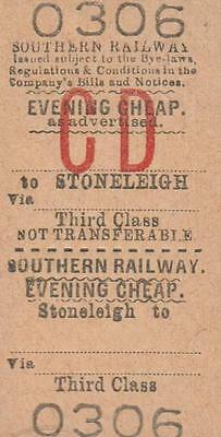 Southern Railway Ticket STONLEIGH 0306