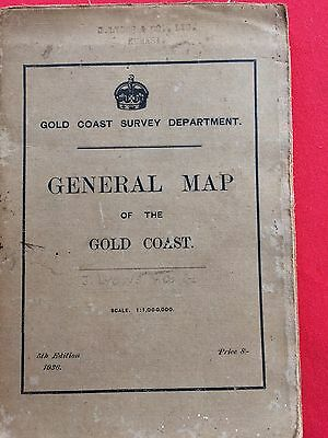 Vintage General map Of The Gold Coast 1936