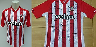 2014-15 Southampton Home Shirt Signed by Squad inc. Bertrand & Forster (10077)