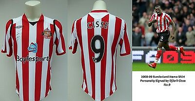 2008-09 Sunderland Home Shirt Signed by Djibril Cisse No.9 (10078)