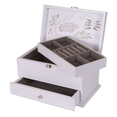 Wooden Jewellery Box 2 drawers Case/Cabinet/Trinket WHITE Vintage New