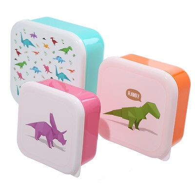 Kids Lunchboxes - Dinosaur, Set of 3. School. Picnic. Plastic Lunch Box. Travel