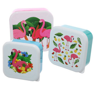 Kids Lunchboxes, Pink Flamingo, Set of 3. School Picnic Plastic Lunch Box Girls