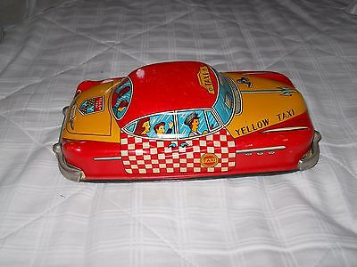 Tin Litho Yellow Taxi friction toy - 1950's - Made in Japan