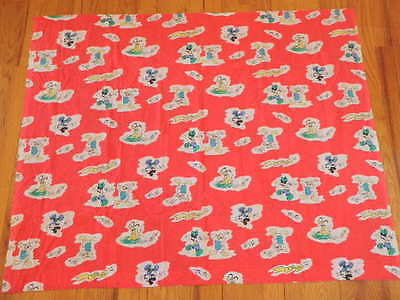 "VINTAGE FABRIC MICKEY MOUSE Dance Cotton Blend 44"" x 36"" Minnie Donald Red A28"