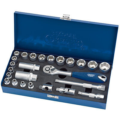 "Draper Expert® 25 Piece 3/8""dr. Metric 6 - 24mm Socket Set in a Metal Case 89667"