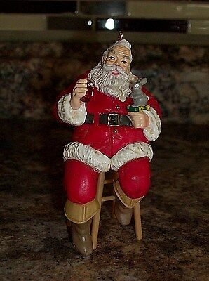 1990 COCA COLA Trim A Tree Collection SANTA on Stool Christmas Ornament 3.75 in