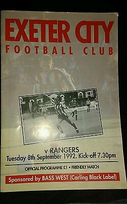 Exeter City v Rangers Friendly season 1992-1993