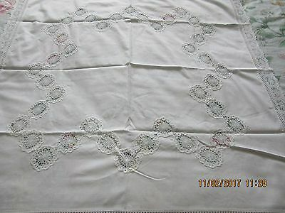 Lovely Vintage Style White Cotton Table Cover With hand Crochet Edging