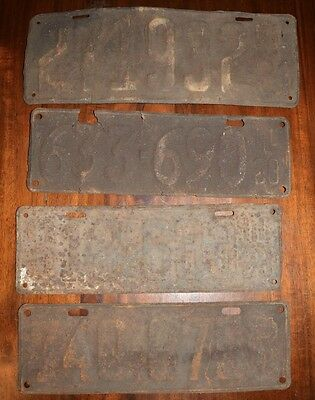 Lot of 4 Antique License Plates from the 1920's Illinois