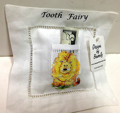 Adorable Keepsake Linen Tooth Fairy Pillow Lion Print Designs by Beverly