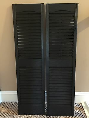 New Perfect Shutters 10W x 39H in Black Louvered Cathedral Top Vinyl Shutters