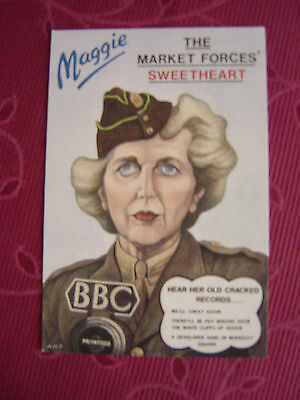 Vintage Political Postcard Maggie Thatcher , The Market Forces Sweetheart(1989)