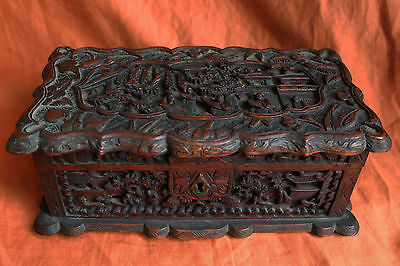 Antique Chinese Cantonese Camphor Wood Jewelry Box C.1860