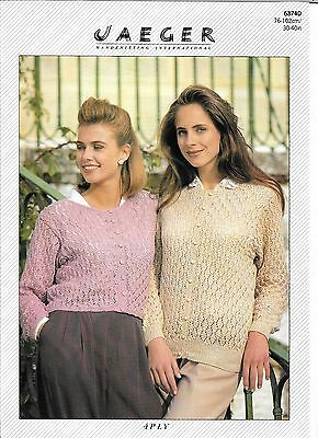 "Vintage Jaeger Knitting Pattern Ladies 4 Ply Cardigans, 2 Lengths 30""-40"" Bust"