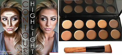 10 Color Camouflage & Concealer Face Makeup Palette Cream Nature with Brush kit