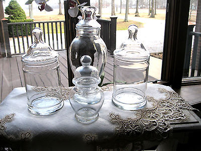4 Glass Apothecary Candy Dish Display Storage Buffet Bridal Jars Lot set
