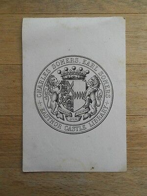 Antique armorial bookplate Earl Charles Somers, Eastnor Castle Library, c 19thC