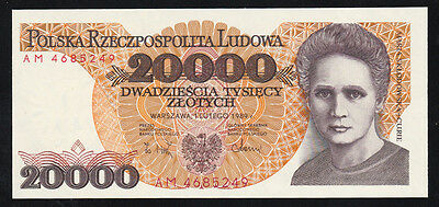 Pologne billet 20000 Zlotych 1.2.1989 NEUF - UNC