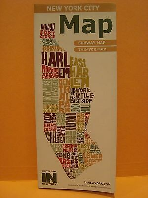 New York City Map Subway & Theater Map Winter 2014 In Nyc Theater District Plays
