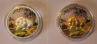 Chine / China 2 coins of 1 silver ounce, 1 golded, colorized PANDA
