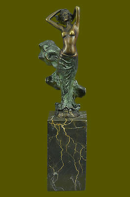 Signed J.ERTE,Bronze Nude Girl Sculpture Statue Hotcast Detailed Figurine DB
